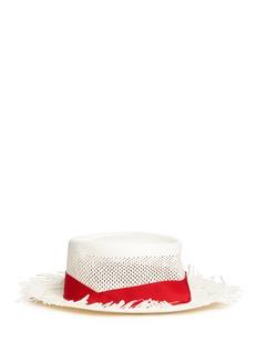 Sensi Studio'Dumont Calado' frayed brim perforated straw hat