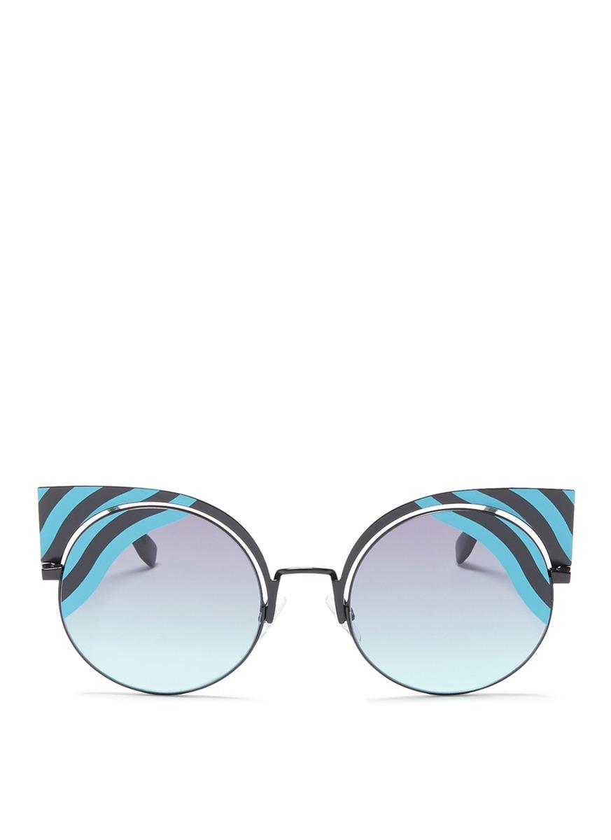Hypnoshine stripe metal cat eye sunglasses by Fendi