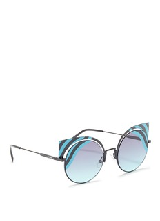 Fendi 'Hypnoshine' stripe metal cat eye sunglasses