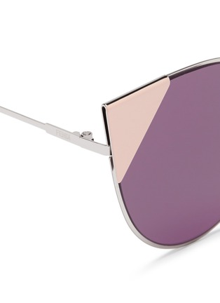 Detail View - Click To Enlarge - Fendi - 'Lei' flat metal cat eye sunglasses