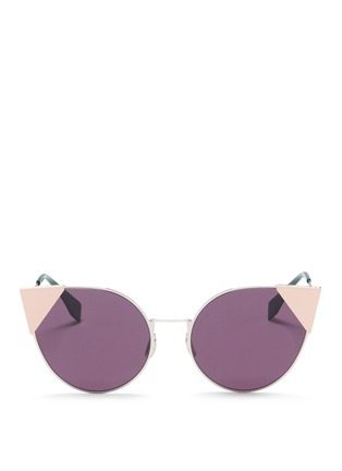 Main View - Click To Enlarge - Fendi - 'Lei' flat metal cat eye sunglasses