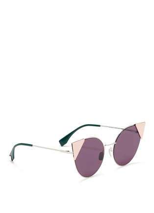 Figure View - Click To Enlarge - Fendi - 'Lei' flat metal cat eye sunglasses