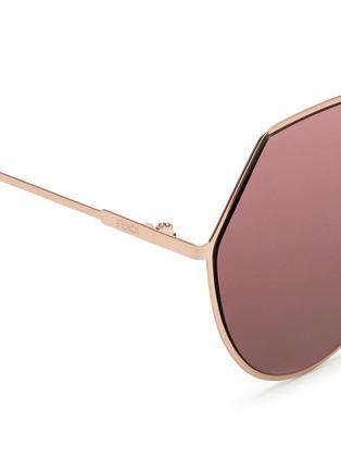 Detail View - Click To Enlarge - Fendi - 'Eyeline' flat metal angular aviator mirror sunglasses