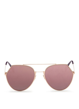 Main View - Click To Enlarge - Fendi - 'Eyeline' flat metal angular aviator mirror sunglasses