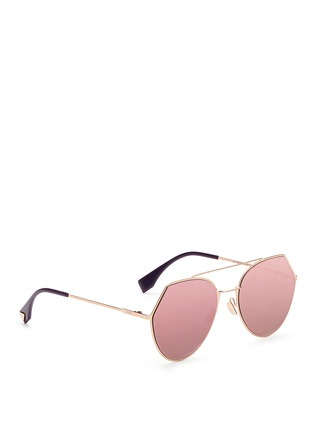 Figure View - Click To Enlarge - Fendi - 'Eyeline' flat metal angular aviator mirror sunglasses