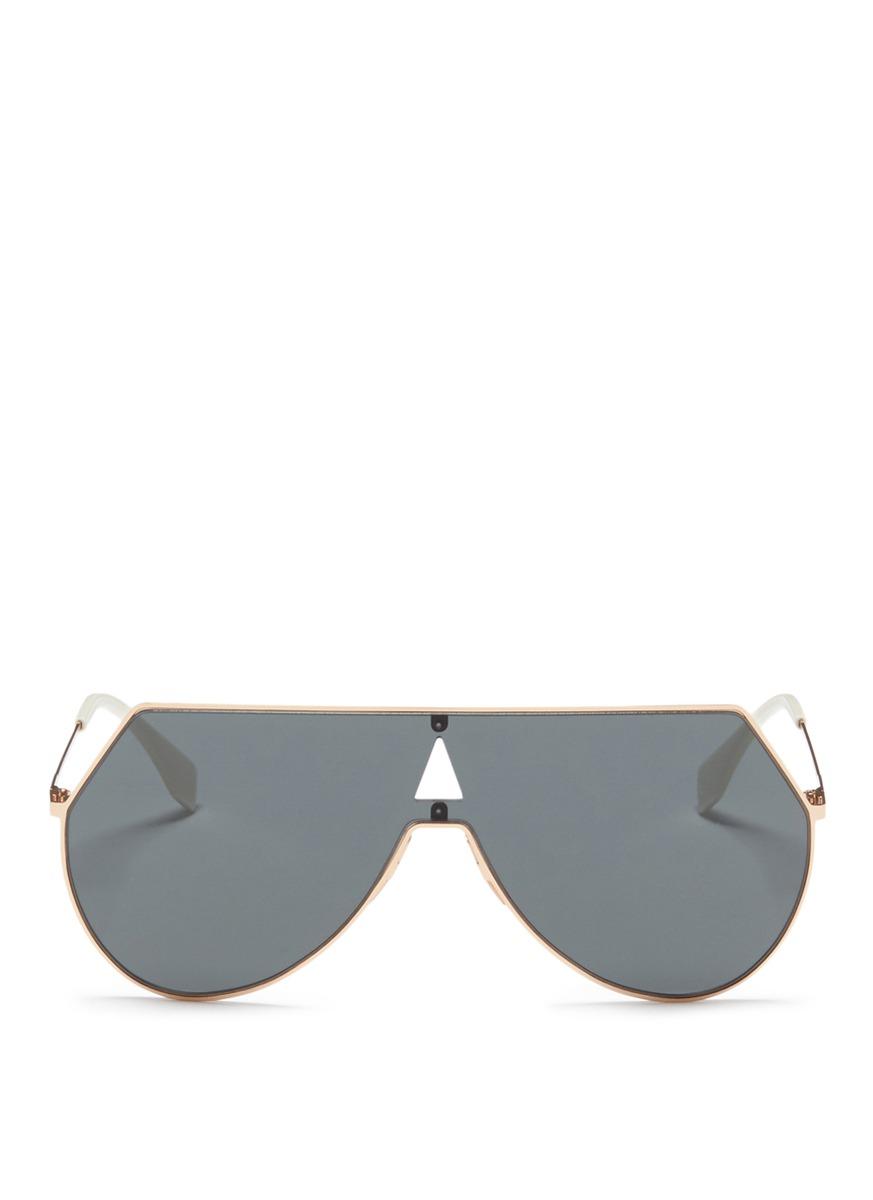 fendi female metal flat aviator sunglasses