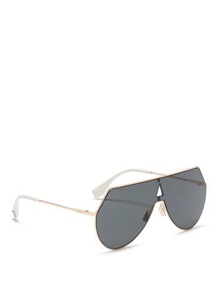 Figure View - Click To Enlarge - Fendi - Metal flat aviator sunglasses