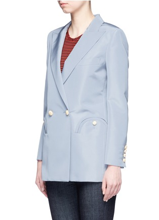 Front View - Click To Enlarge - Blazé Milano - 'Everyday Shamrock Sky' bamboo button silk blazer