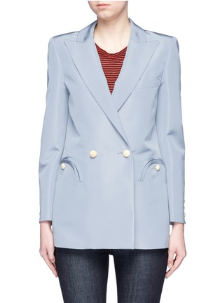 Main View - Click To Enlarge - Blazé Milano - 'Everyday Shamrock Sky' bamboo button silk blazer
