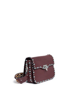 VALENTINO'Rockstud Rolling' embroidered strap leather satchel