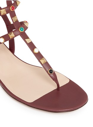 Detail View - Click To Enlarge - Valentino - 'Rockstud Rolling' cabochon caged leather sandals
