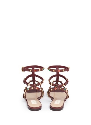 Back View - Click To Enlarge - Valentino - 'Rockstud Rolling' cabochon caged leather sandals