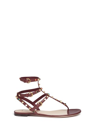 Main View - Click To Enlarge - Valentino - 'Rockstud Rolling' cabochon caged leather sandals