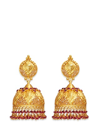 Main View - Click To Enlarge - Aishwarya - Ruby 18k yellow gold plated silver dome earrings