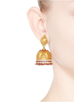 Figure View - Click To Enlarge - Aishwarya - Ruby 18k yellow gold plated silver dome earrings