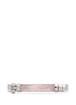 Figure View - Click To Enlarge - W.Britt - 'Round Bar' inset rose quartz bangle