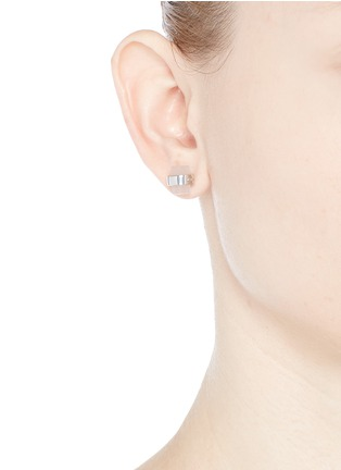 Figure View - Click To Enlarge - W.Britt - 'Cylinder stud' rose quartz earrings