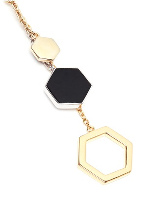 Detail View - Click To Enlarge - W.Britt - 'Hexagon Dangling' 18k gold plated earrings