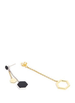 - W.Britt - 'Hexagon Dangling' 18k gold plated earrings