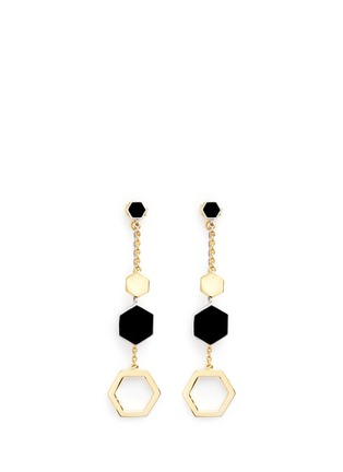 Main View - Click To Enlarge - W.Britt - 'Hexagon Dangling' 18k gold plated earrings