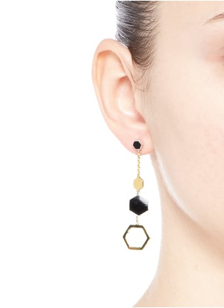 Figure View - Click To Enlarge - W.Britt - 'Hexagon Dangling' 18k gold plated earrings