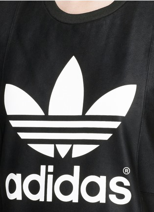 Detail View - Click To Enlarge - Adidas - Lamb leather front cotton jersey logo T-shirt