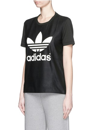 Front View - Click To Enlarge - Adidas - Lamb leather front cotton jersey logo T-shirt
