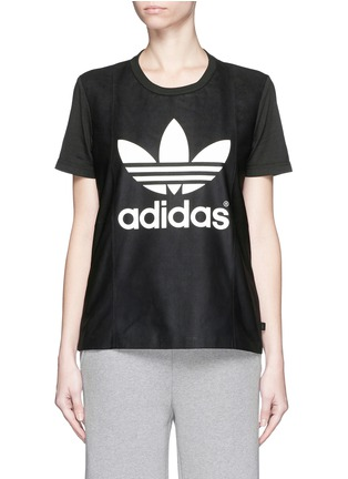 Main View - Click To Enlarge - Adidas - Lamb leather front cotton jersey logo T-shirt