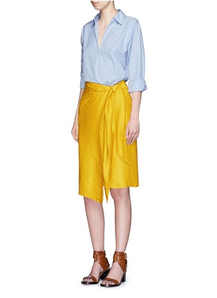 Figure View - Click To Enlarge - Cédric Charlier - Tie waist drape wrap skirt
