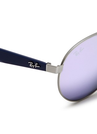 Detail View - Click To Enlarge - Ray-Ban - 'RB3536' metal round aviator mirror sunglasses
