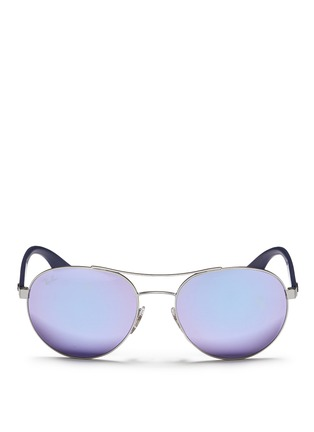 Main View - Click To Enlarge - Ray-Ban - 'RB3536' metal round aviator mirror sunglasses