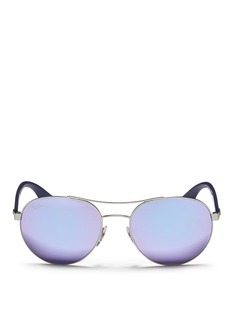 RAY-BAN 'RB3536' metal round aviator mirror sunglasses