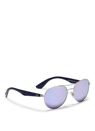 Figure View - Click To Enlarge - Ray-Ban - 'RB3536' metal round aviator mirror sunglasses