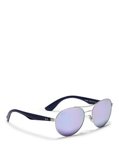 RAY-BAN'RB3536' metal round aviator mirror sunglasses