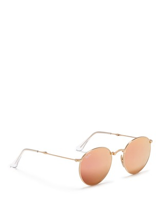 Figure View - Click To Enlarge - Ray-Ban - 'RB3532' folding round metal mirror sunglasses