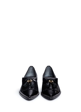 Stuart Weitzman - 'Metaltass' patent leather kiltie loafers