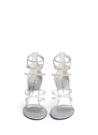 Front View - Click To Enlarge - Stuart Weitzman - 'Galaxy' Swarovski crystal strap lamé sandals
