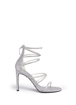 Main View - Click To Enlarge - Stuart Weitzman - 'Galaxy' Swarovski crystal strap lamé sandals