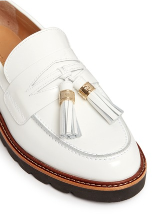 Detail View - Click To Enlarge - Stuart Weitzman - 'Manila' tassel tie spazzolato leather loafers