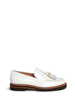 Main View - Click To Enlarge - Stuart Weitzman - 'Manila' tassel tie spazzolato leather loafers
