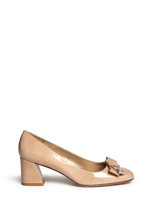 Main View - Click To Enlarge - Stuart Weitzman - 'Bold Fore' bow patent leather pumps