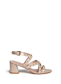 STUART WEITZMAN 'Gazette' stud chunky heel leather sandals