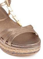 'Ornamental' metallic jute trim leather platform sandals