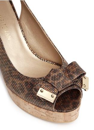 Detail View - Click To Enlarge - Stuart Weitzman - 'Boda Jean' glitter leopard print cork wedge sandals