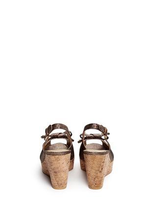 Back View - Click To Enlarge - Stuart Weitzman - 'Boda Jean' glitter leopard print cork wedge sandals