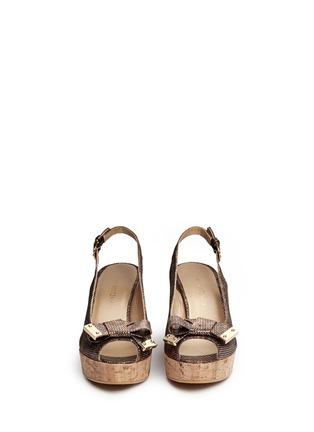 Front View - Click To Enlarge - Stuart Weitzman - 'Boda Jean' glitter leopard print cork wedge sandals