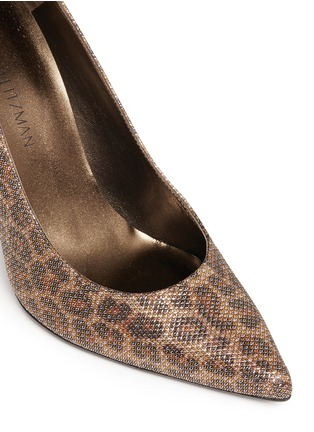 Detail View - Click To Enlarge - Stuart Weitzman - 'Heist' leopard print metallic pumps
