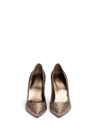 Front View - Click To Enlarge - Stuart Weitzman - 'Heist' leopard print metallic pumps