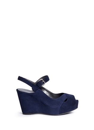 Main View - Click To Enlarge - Stuart Weitzman - 'Turnover' suede wedge platform sandals