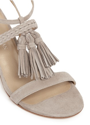 Detail View - Click To Enlarge - Stuart Weitzman - 'Tasselmania' suede chunky heel sandals